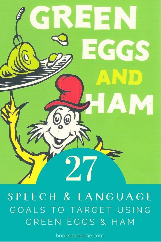 Check out the 27 speech and language goals you can target in your speech therapy sessions using Green Eggs and Ham by Dr Seuss.