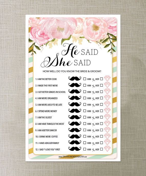 Wedding Shower Printable He Said She Game By PalmBeachPrints See More Ladies Of All Ages LOVE This Print As Many Games You Need