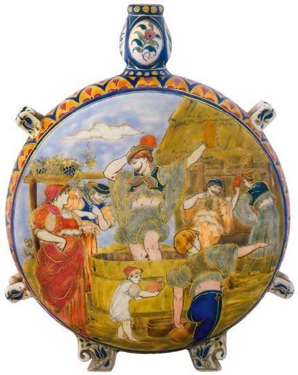 Zsolnay - Kulacs szüreti jelenettel, 1881 Dekorterv: Kelin Ármin, a kulacs szájánál restaurált  Porcelánfajansz, magastüzű mázak, aranykontúrozás, Magasság: 31 cm, átmérő: 24 cm Jelzés: masszába nyomott Zsolnay Pécs márkajelzés és bélyegzős családi márkajelzés 2005/le 300e