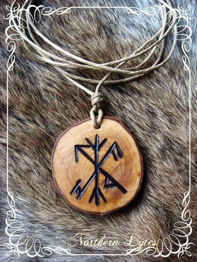 Protection Bind rune Necklace - Algiz - Odin - Holly - Pagan, Asatru, Wicca