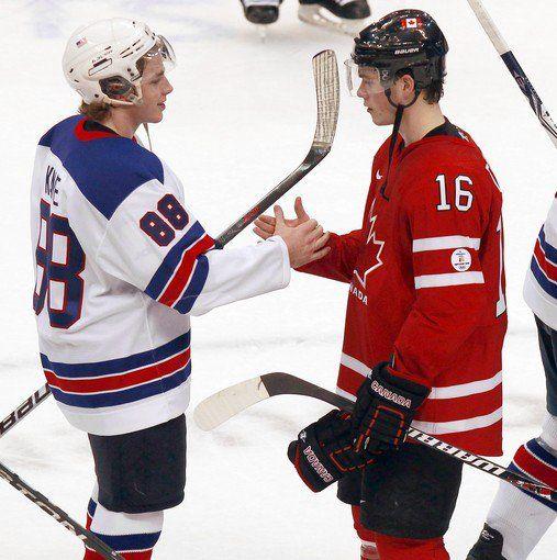 USA Hockey's Patrick Kane and Team Canada's Jonathan Toews ...