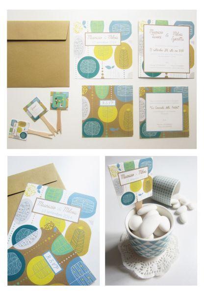 Coordinato nozze con texture alberi stulizzati: partecipazioni a scheda multipla, cartellini confettata