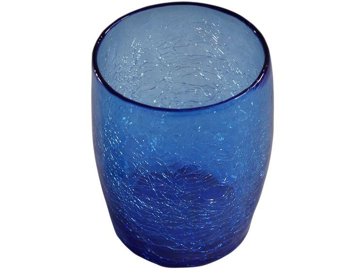 verre a eau ou a whisky bleu en verre souffle 2