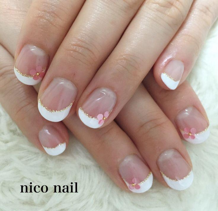 浜松市 中区 自宅ネイルサロン nico nail ニコネイル:ウェディングネイル(斜めフレンチネイル) ホワイト