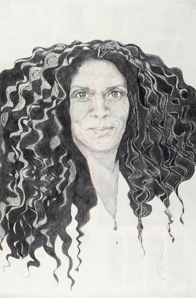 #Retrato de Leticia Flores Farfán por Raquel Rosas Duarte. Lápiz sobre papel. Mención #AutoresUNAM #UNAM