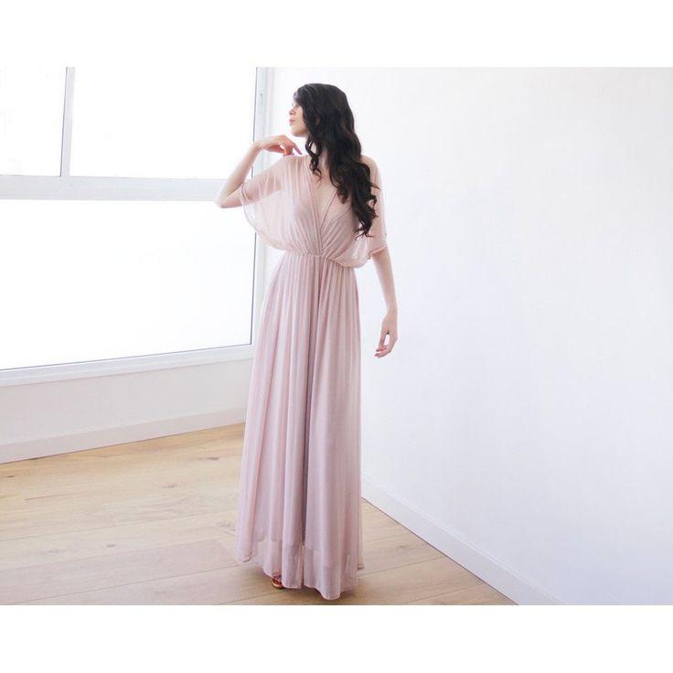 Blush Pink Sheer Chiffon Bat-wing Maxi Dress