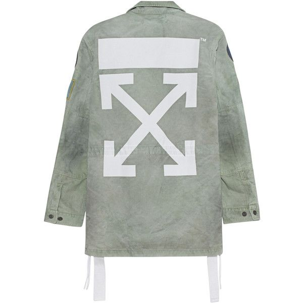 OFF-WHITE C/O VIRGIL ABLOH Field Jacket With Patches Military //... ($1,390) ❤ liked on Polyvore featuring men's fashion, men's clothing, men's outerwear, men's jackets, mens green military style jacket, mens military style jacket, mens olive jacket, mens olive green military jacket and mens military field jacket