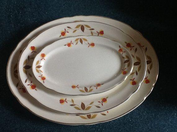Hall Jewel Tea Dishes | Vintage Hall China Jewel Tea Autumn Leaf Oval Platter's ~ 2 Sizes ...