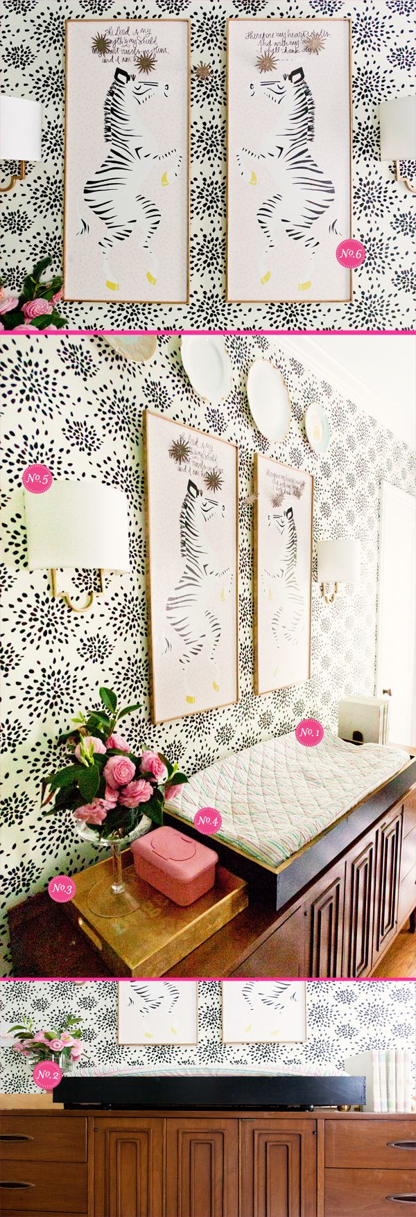 Wallpapered nursery changing table Lay Baby Lay - Nursery Inspiration & Delights