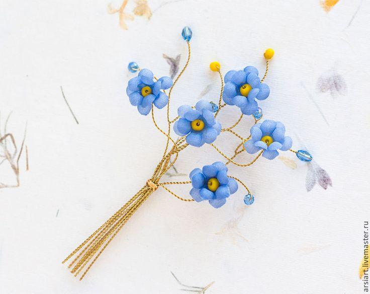 Бутоньерка незабудка. Оригинальная желтая бутоньерка с синими цветами. #boutonniere #jewelry #flowers #wedding