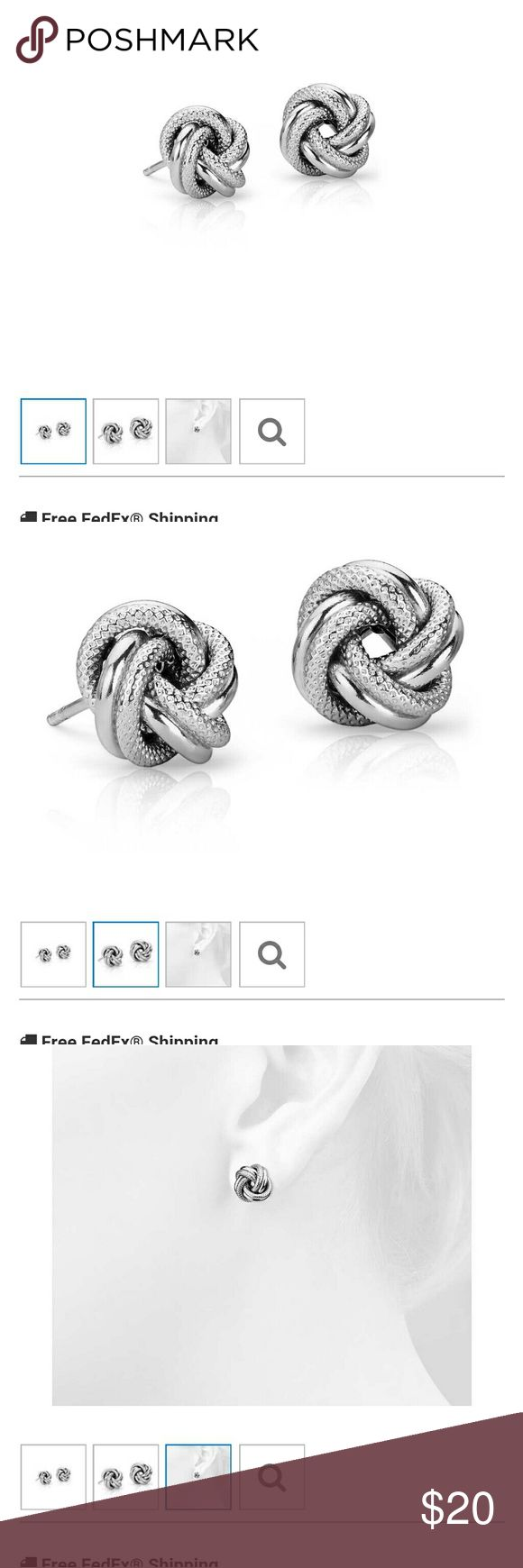 Blue Nile Interlace Love knot earrings in SS Metal	Sterling Silver? Diameter?	3/8 inch Backing	Push backing? Approximate weight	1.8 grams Rhodium Plated?	Yes  Never worn. Includes Blue Nile pouch and box. Blue Nile Jewelry Earrings