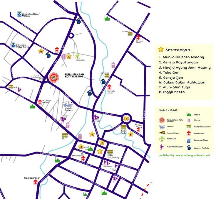 Malang, #Jatim, sebuah kota yang dapat dijelajahi dengan berjalan kaki. Cek peta dan tempat-tempat menariknya di sini. (Malang, #eastJava, a city where you can explore on foot. Get the map and point of interest here.)