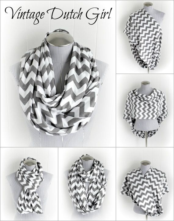 Gray Chevron Breastfeeding Infinity Scarf, Grey and White Chevron Jersey Knit Loop Scarf, Nursing Scarf on Etsy, $21.99