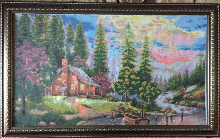 "Completed cross stitch, Home decoration, Framed cross stitch, Handmade embroidery -""House in the woods"".Free shipping by NattikStudio on Etsy"