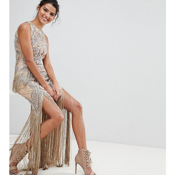 A Star Is Born Luxe All Over Jewel Embellished Maxi Dress With Beaded... ($474) ❤ liked on Polyvore featuring dresses, pink, open back cocktail dress, sequin party dresses, pink maxi dresses, bodycon mini dress and maxi cocktail dresses