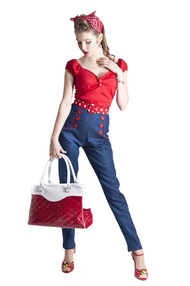 6f94e5ad7f280 Pantalon Jeans Rétro Pin-Up 50 s Rockabilly Barbara - Pantalon - Vetements  Femme - Tous nos Produits   Retro   Pinterest   Calça, Look et Macacão