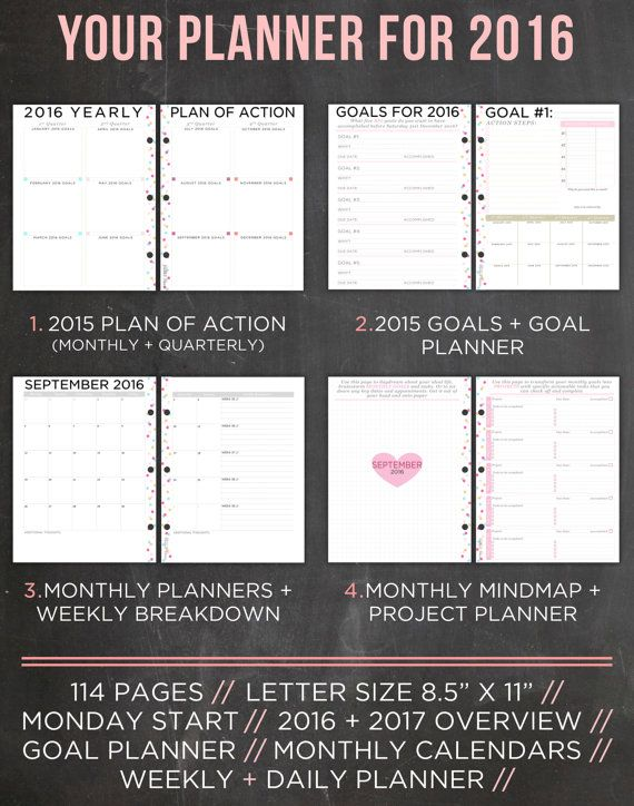 2016 PRINTABLE PLANNER - Letter Size Planner  Your 2016 printable planner has been designed with your BIG goals and dreams in mind. Your life