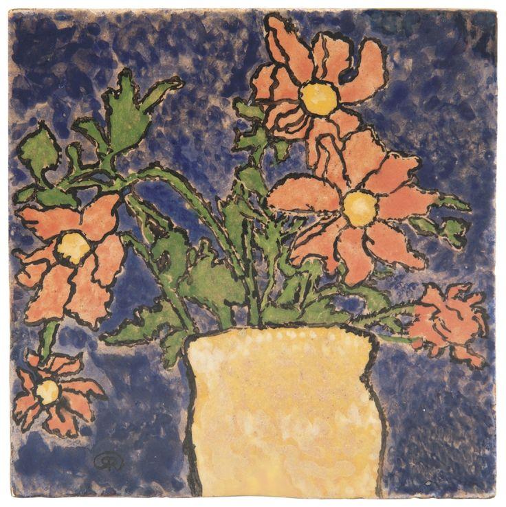Zsolnay - Csempekép virágcsendélettel, i., 1898 17,3x17,3x2 cm Dekorterv: Rippl-Rónai József Kikiáltási ár: 2 200 000 Ft