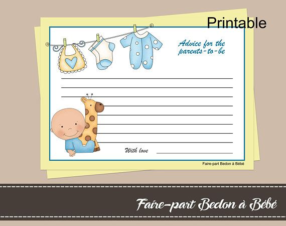Advice for the parents to be -  words of advice card -  Advice cards - Parents-to-be advice - Baby shower games - Baby shower cards