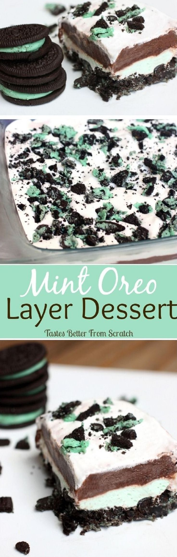 Mint Oreo Layer Dessert - 16 Divine Oreo Desserts   GleamItUp
