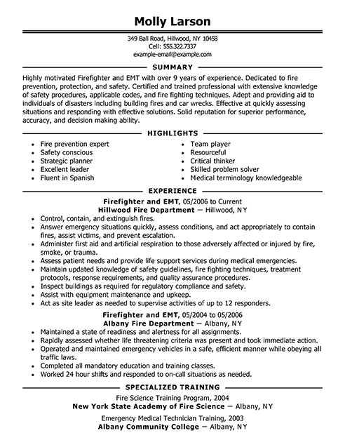 12 best Templates images on Pinterest Firefighter resume, Resume - emergency medical technician resume
