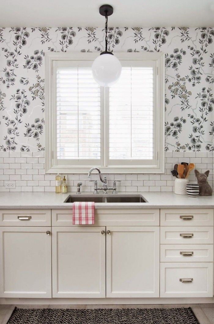 24 best magnolia home wallpaper by york images on for White kitchen wallpaper