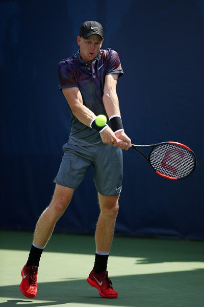 Kyle Edmund of Great Britain returns a shot during his first round Men's Singles match against Robin Haase of the Netherlands on Day One of the 2017 US Open at the USTA Billie Jean King National Tennis Center on August 28, 2017 in the Flushing neighborhood of the Queens borough of New York City.