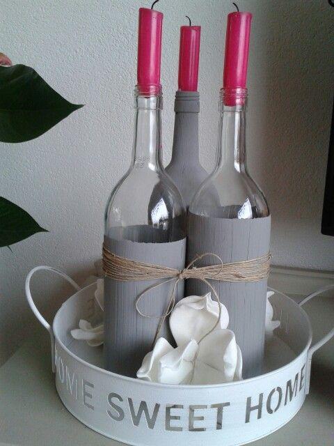 Wijnfles-kandelaar