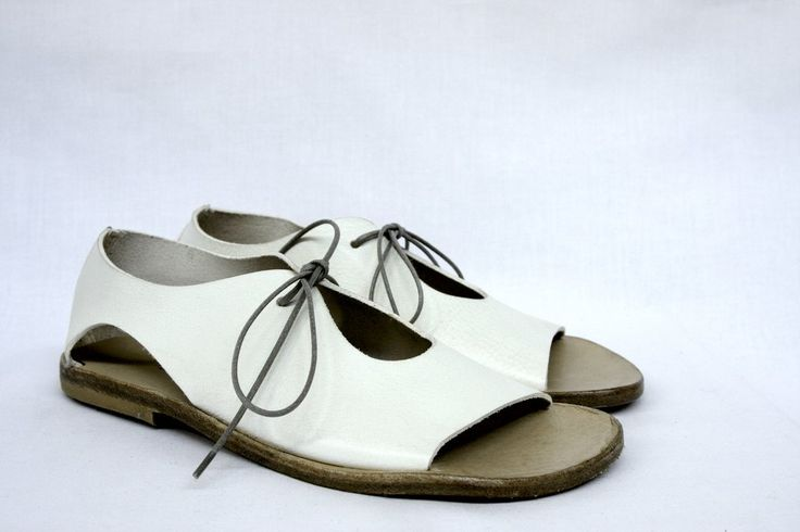 White Leather Lace-Up Open Toe Sandal MOMA Made In Italy