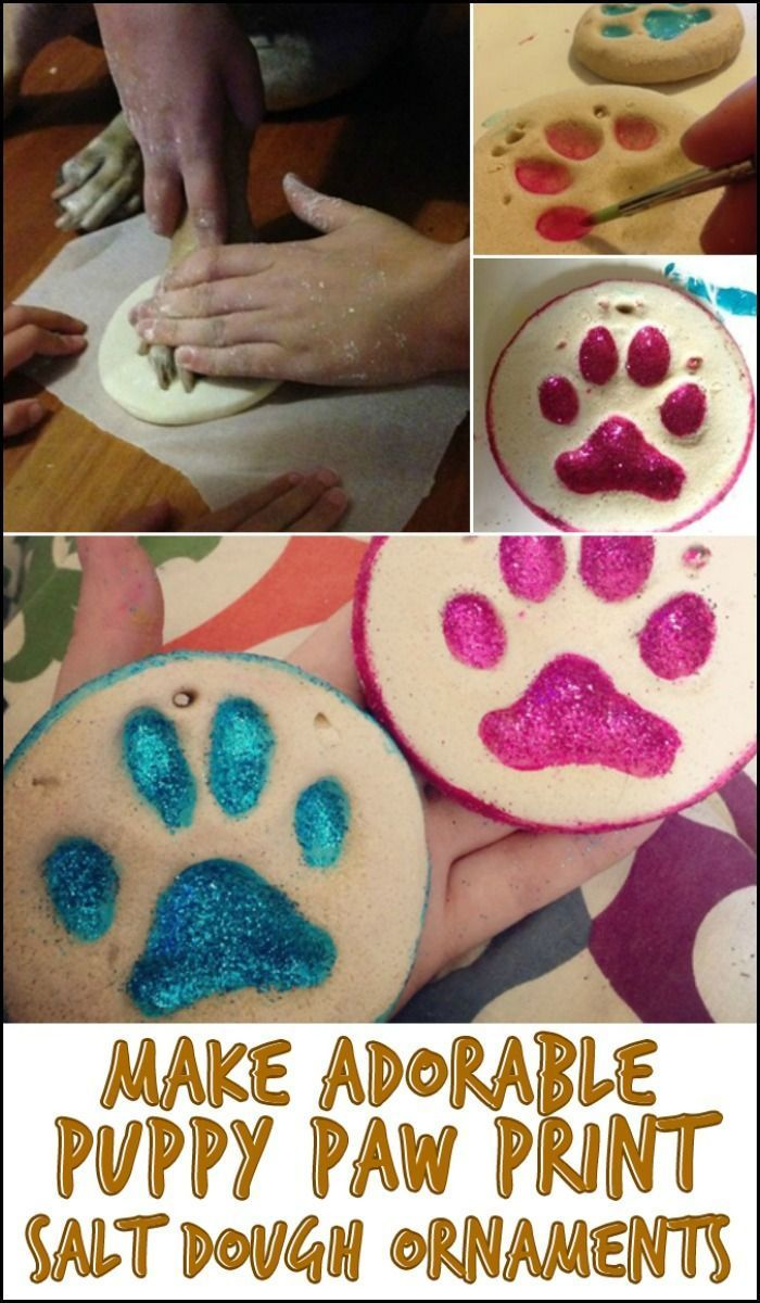Make art with your fur babies by creating adorable puppy paw print salt dough ornaments! Do you know someone who'd be excited to do this project?