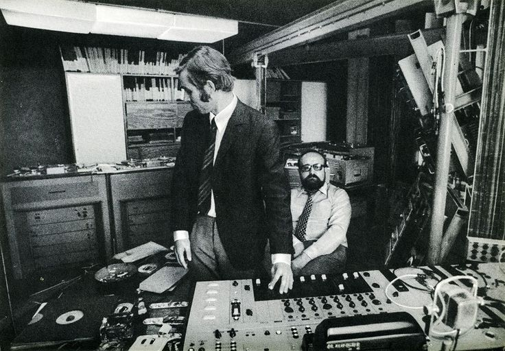 "Krzysztof Penderecki and Eugeniusz Rudnik at the Experimental Studio of the Polish Radio, April 1972, photograph from Ludwik Erhardt's book ""Spotkania z Krzysztofem Pendereckim"" (Meetings with Penderecki)"