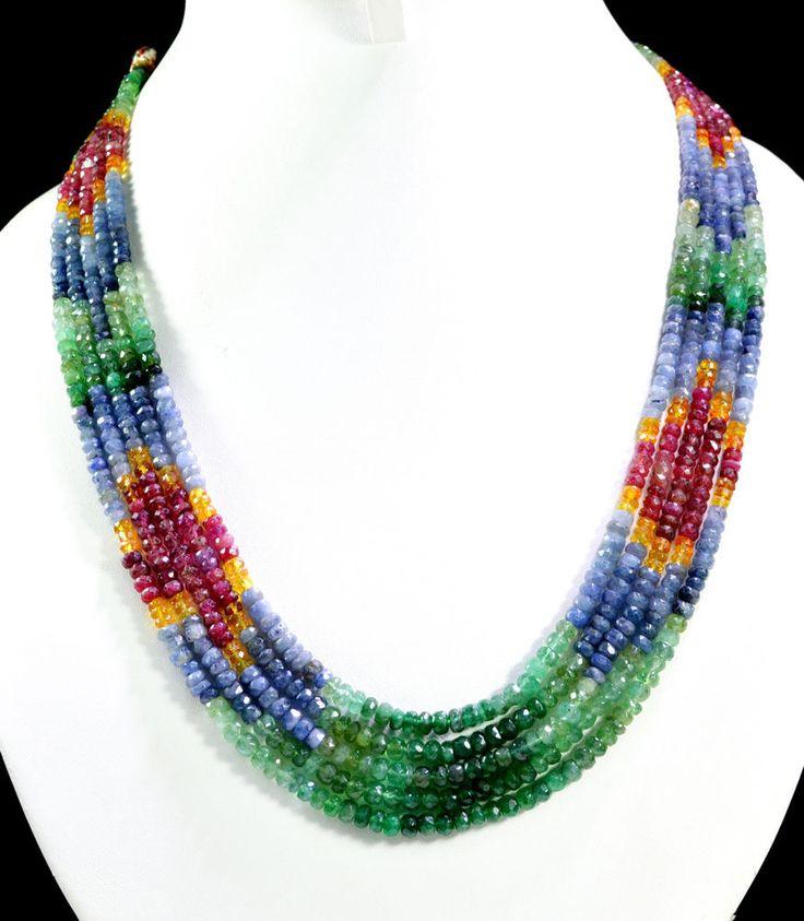 5 Strands Natural Ruby Emerald Sapphire 392ct Multi Row Gemstone Beads Necklace #KrishnaGemsNJewels #StrandString