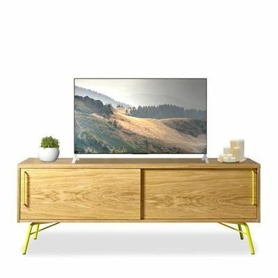 meuble tv design bois et mtal ashburn couleur jaune - Meuble Tv Made In Design