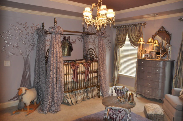 Enchanted Forest Baby room. Holy crap! Little overkill for my taste but very cute.