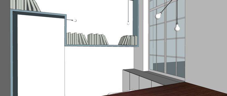 ontwerp boekenplank bureau rond deur - architect a.wildro en interieurvormgever k.vantomme