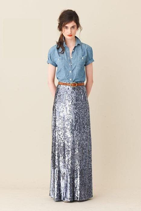 sparkly skirt and chambray, replace skirt with floral skirt