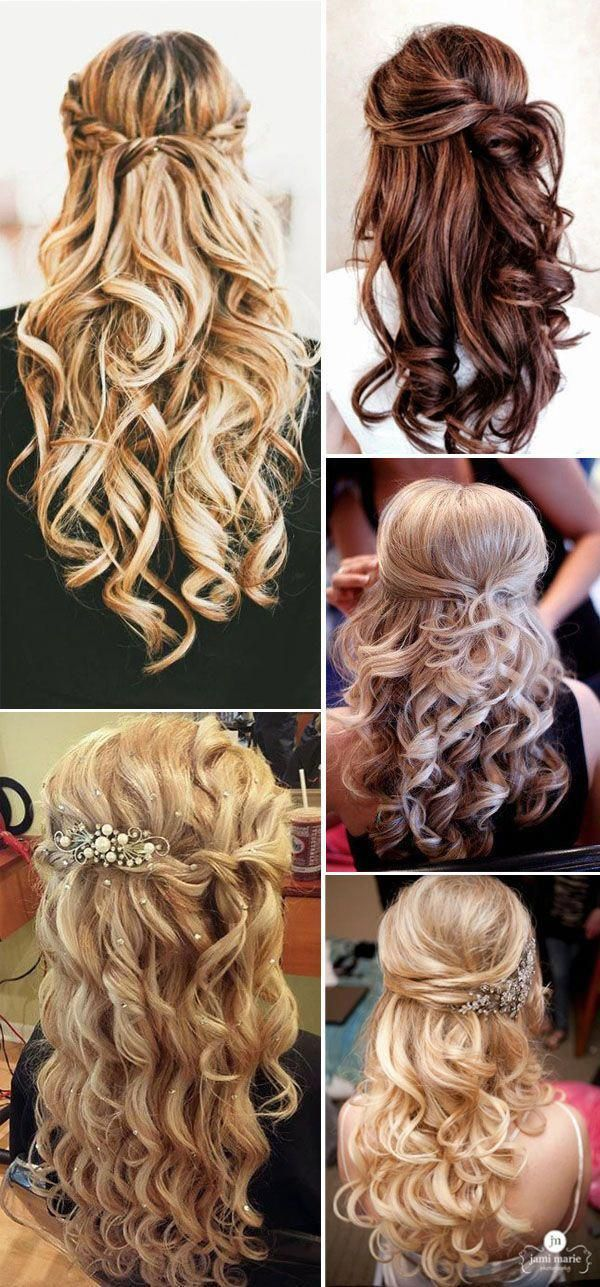 Half Up Half Down Hairstyles from 2016 and 2017 For Long Hair, Medium Length, and Short Hair.  Try With Veil or Without.  Don't forget Ideas For Bridesmaids. #weddinghairstyleswithveil