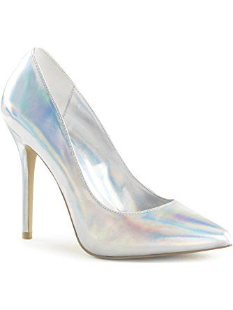 Womens Silver Closed Toe Heels Pointed Toe Pumps Hologram Shoes 5 Inch Heels Size: 5 ❤ SummitFashions