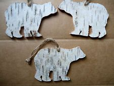 3 Primitive Country Rustic Birch Bark Bear Christmas Ornaments Decorations decor
