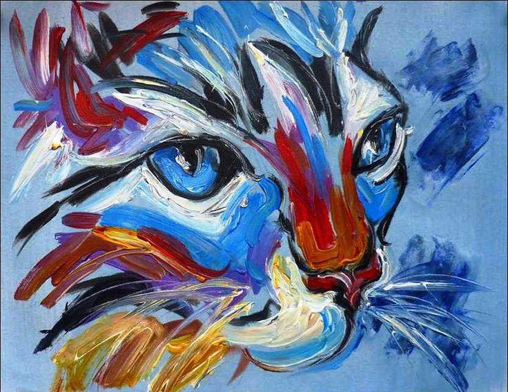 quadro gato pintura a óleo sobre tela                                                                                                                                                      Mais