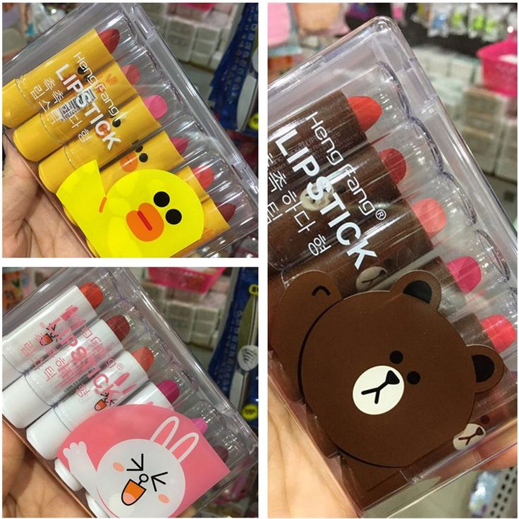 6Pcs/Lot 3.5g Cute Lipstick Yellow Duck Brown Bear Pink Rabbit Lipstick Lipgloss Waterproof Easy to Wear Lip Stick with Box