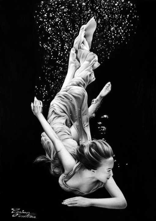 Like a Dream - Underwater Girl - Desen în Creion de Corina Olosutean // Like a Dream - Underwater Girl - Pencil Drawing by Corina Olosutean