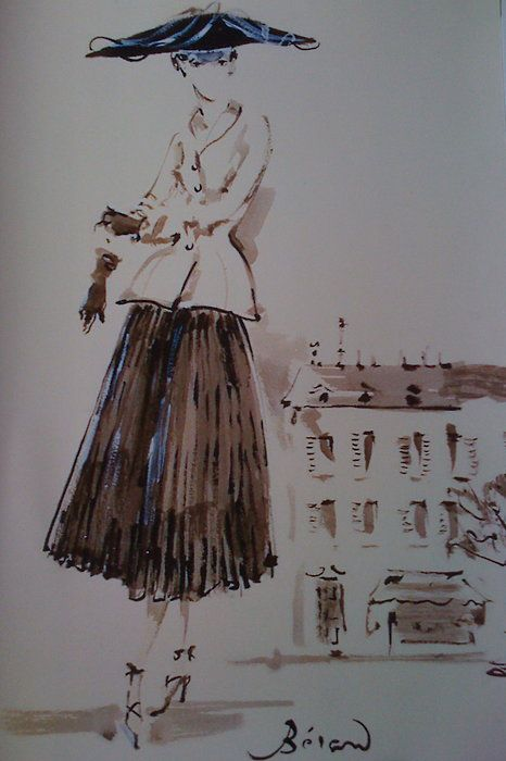 """Fashion drawing of the """"New Look"""" by Christian Berard"""