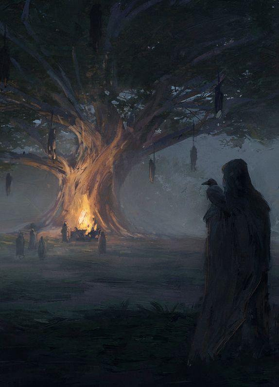 "fantasyartwatch: "" Gathering at Odin's Tree by Mateusz Katzig """