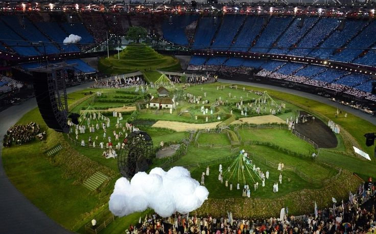 Not sure this counts as cute. More like proof that the olympics were weird.  40 Photos From The Insanely British Olympics Opening Ceremony