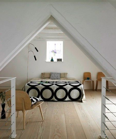 spartan but stylish attic bedroomSmall Attic Bedrooms, Ideas, Beds, Floors, Attic Spaces, Loft, Attic Bedrooms Design, Attic Room, Bedrooms Decor