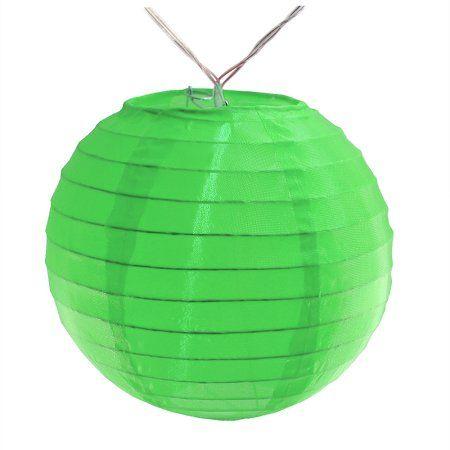 LumaBase Battery Operated String Light with 6 inch Nylon Lanterns, 10 Lanterns, Green