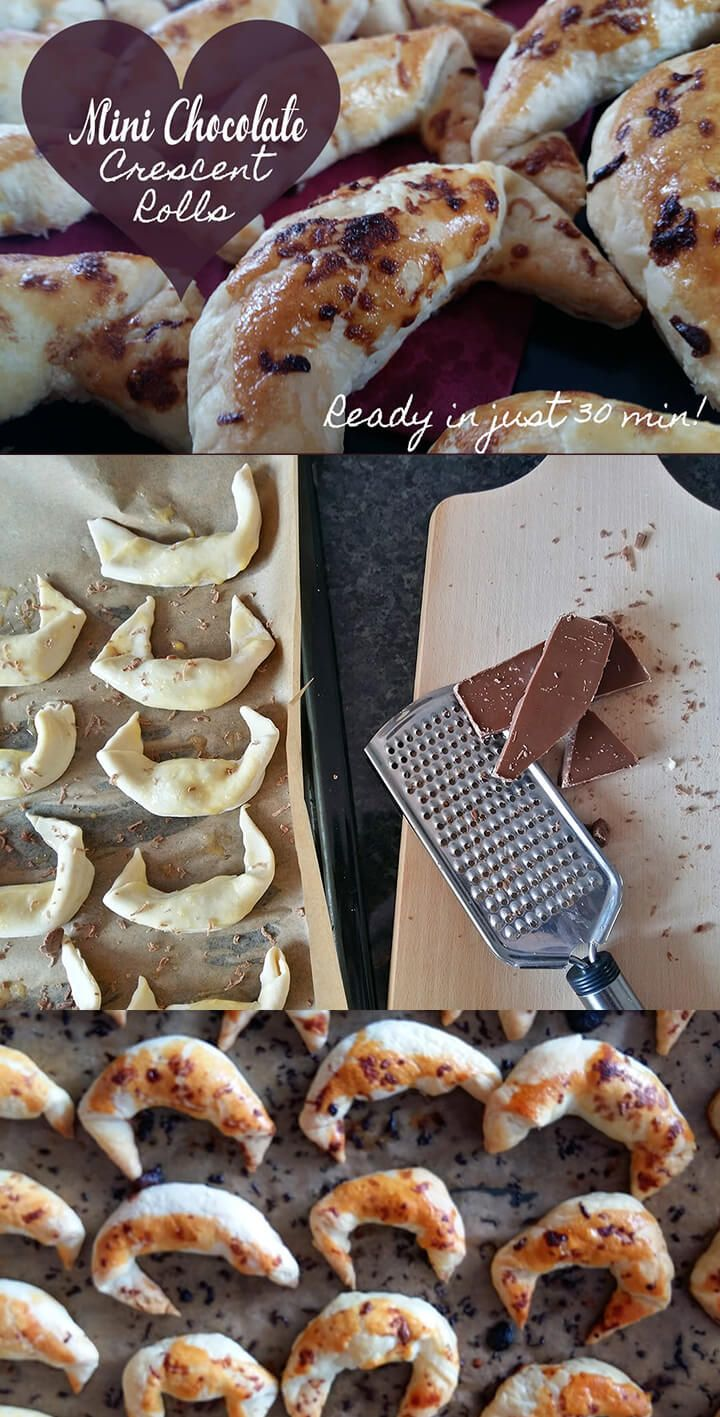 A mini chocolate Crescent recipe. You can have this simple  pastry dessert recipe ready in 30 minutes!