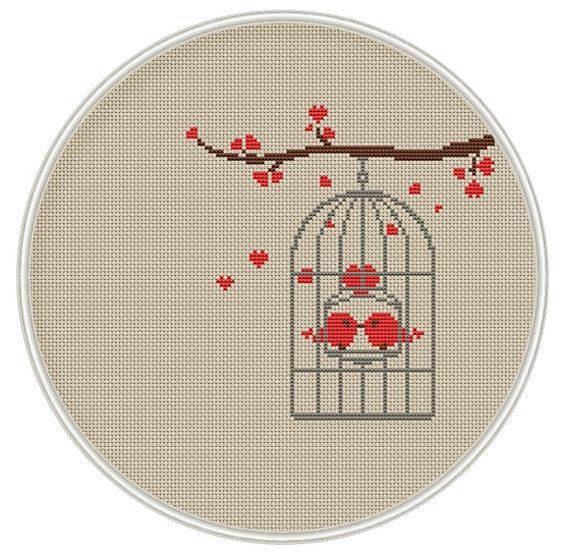 Bird in cage cross stitch pattern, Instant Download, Free shipping, Cross-Stitch…