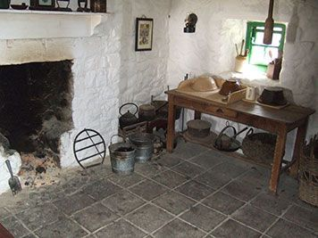 hearth in irish stone cottage